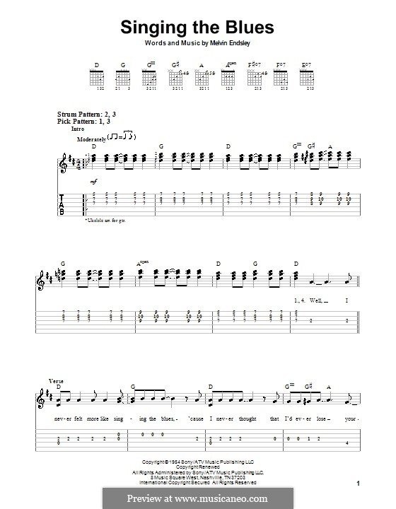 Singing the Blues: Für Gitarre (leicht) (Guy Mitchell) by Melvin Endsley