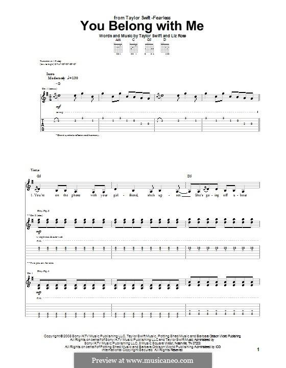 You Belong with Me (Taylor Swift): Für Gitarre mit Tabulatur by Liz Rose