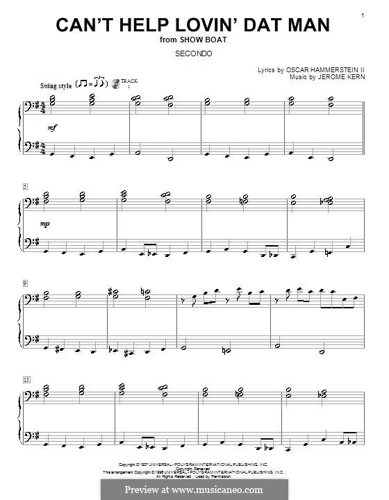 Can't Help Lovin' Dat Man (from Show Boat): Für Klavier, vierhändig by Jerome Kern