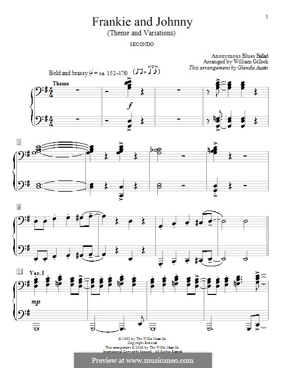 Frankie And Johnny: Für Klavier, vierhändig by Glenda Austin