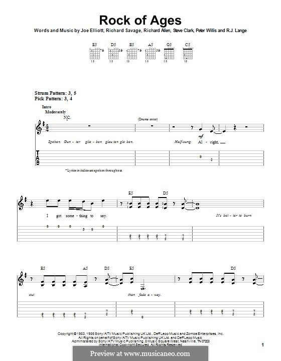 Rock of Ages (Def Leppard): Für Gitarre (Sehr leichte Fassung) by Joe Elliott, Peter Willis, Richard Allen, Richard Savage, Robert John Lange, Steve Clark