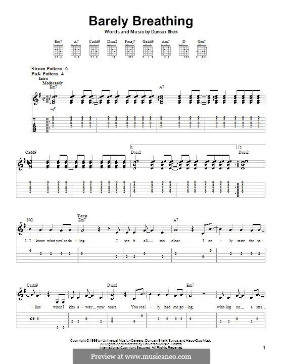 Barely Breathing: Für Gitarre (Sehr leichte Fassung) by Duncan Sheik