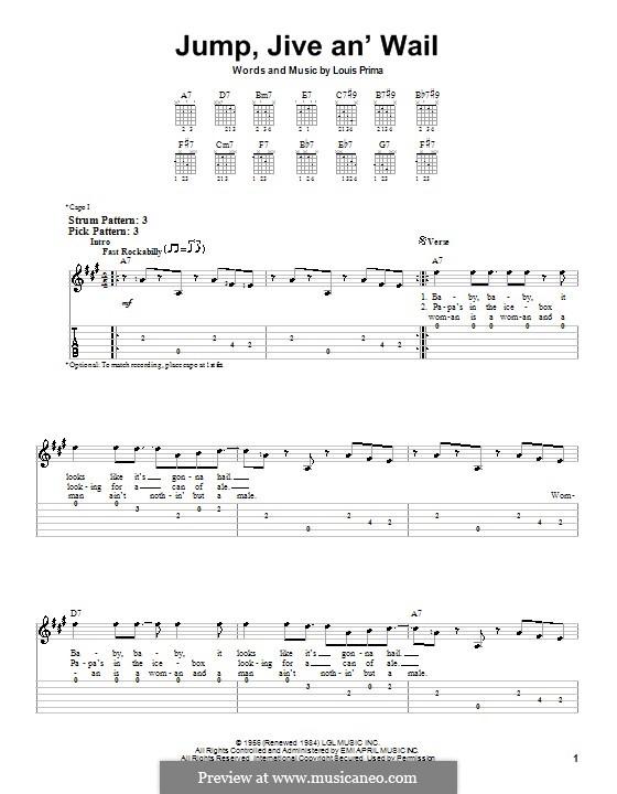 Jump, Jive an' Wail: Für Gitarre (Sehr leichte Fassung) by Louis Prima