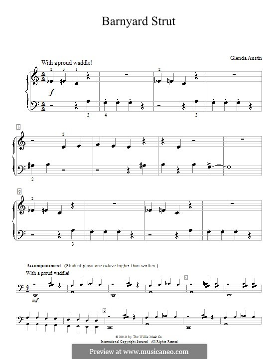 Barnyard Strut: Für Klavier by Glenda Austin
