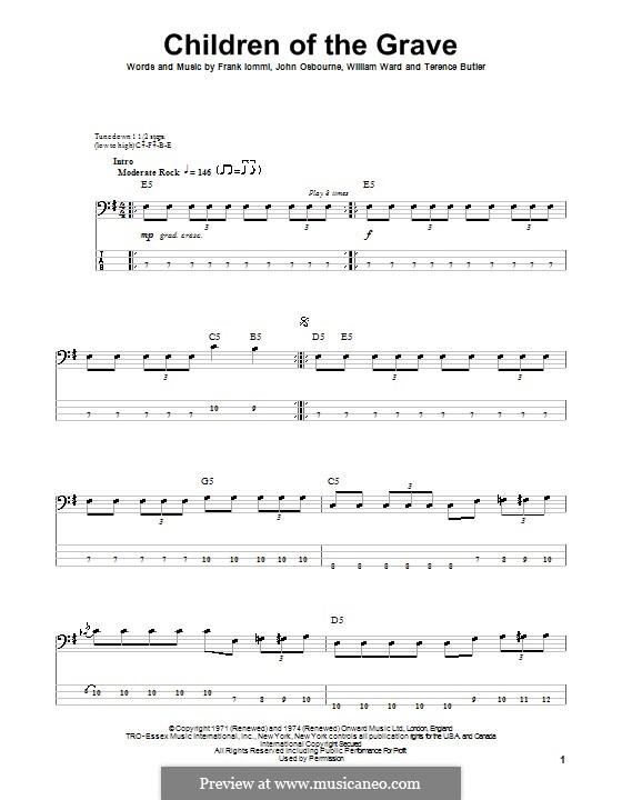 Children of the Grave (Black Sabbath): Für Bassgitarre mit Tabulatur by Geezer Butler, Ozzy Osbourne, Tony Iommi, Bill Ward