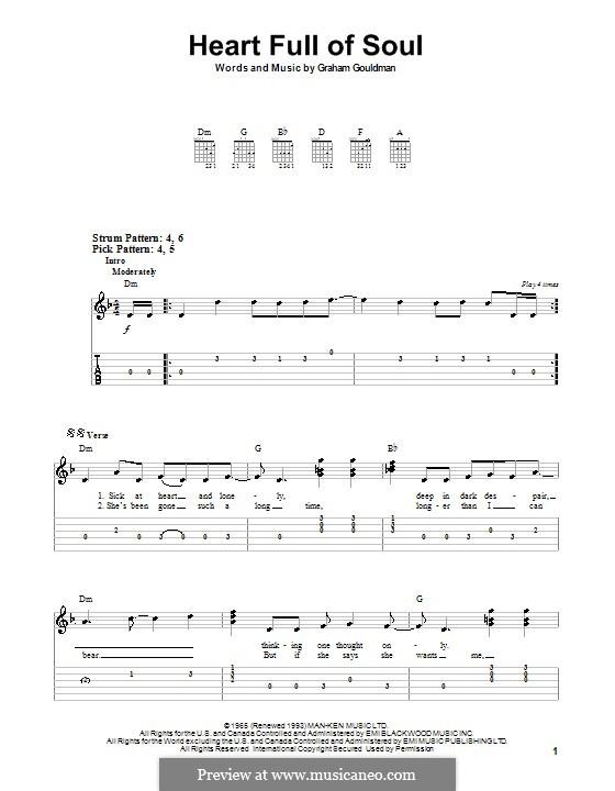 Heart Full of Soul (The Yardbirds): Für Gitarre (leicht) by Graham Gouldman
