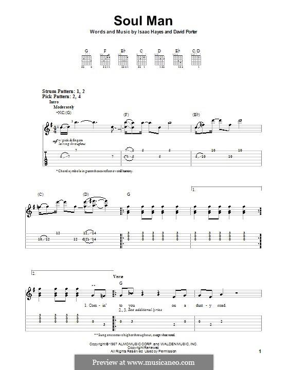 Soul Man (Sam & Dave): Für Gitarre (Sehr leichte Fassung) by David Porter, Isaac Hayes