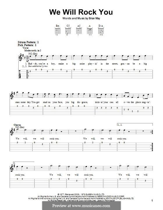 We Will Rock You (Queen): Für Gitarre (Sehr leichte Fassung) by Brian May