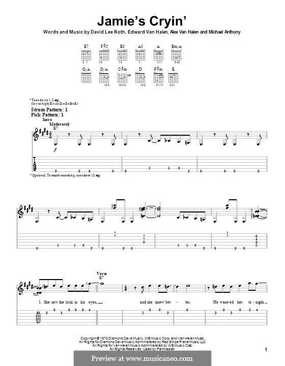 Jamie's Cryin' (Van Halen): Für Gitarre (Sehr leichte Fassung) by Alex Van Halen, David Lee Roth, Edward Van Halen, Michael Anthony