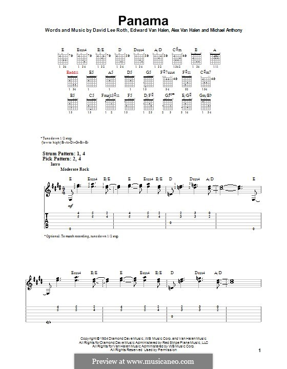 Panama (Van Halen): Für Gitarre (Sehr leichte Fassung) by Alex Van Halen, David Lee Roth, Edward Van Halen, Michael Anthony