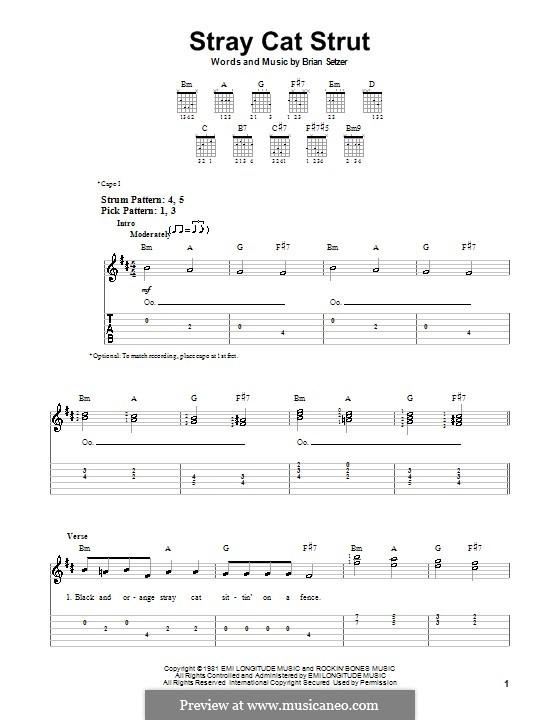 Stray Cat Strut (Stray Cats): Für Gitarre (Sehr leichte Fassung) by Brian Setzer