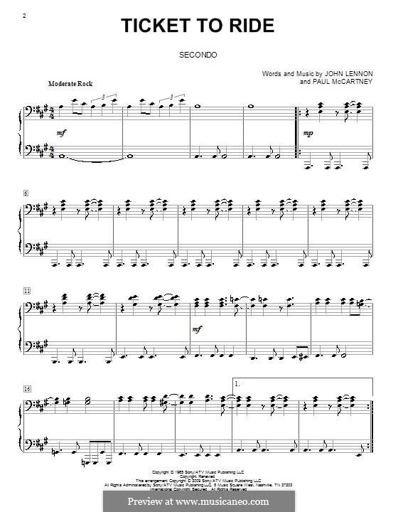 Ticket to Ride (The Beatles): Für Klavier, vierhändig by John Lennon, Paul McCartney