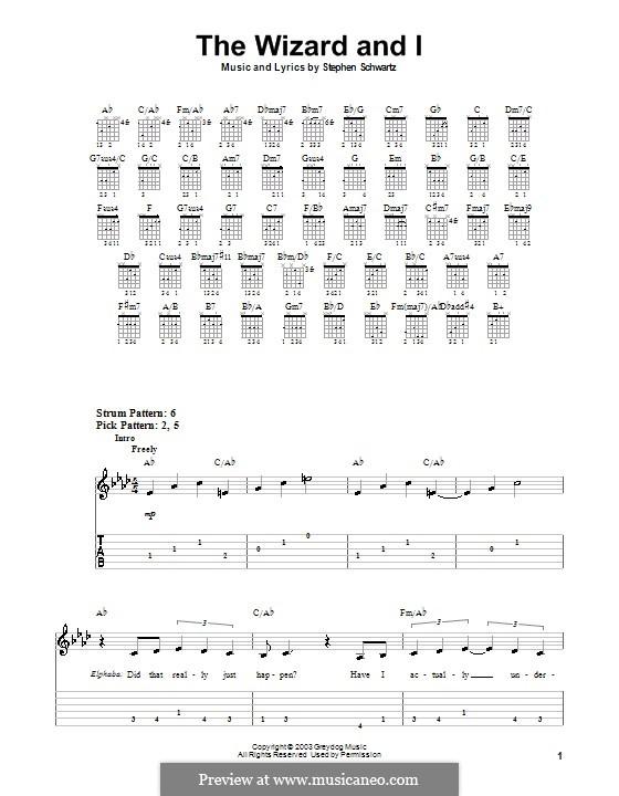 The Wizard and I: Für Gitarre (Sehr leichte Fassung) by Stephen Schwartz