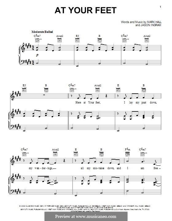 At Your Feet (Casting Crowns): Für Stimme und Klavier (oder Gitarre) by Jason David Ingram, Mark Hall