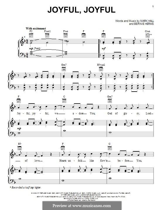 Joyful, Joyful (Casting Crowns): Für Stimme und Klavier (oder Gitarre) by Bernie Herms, Mark Hall