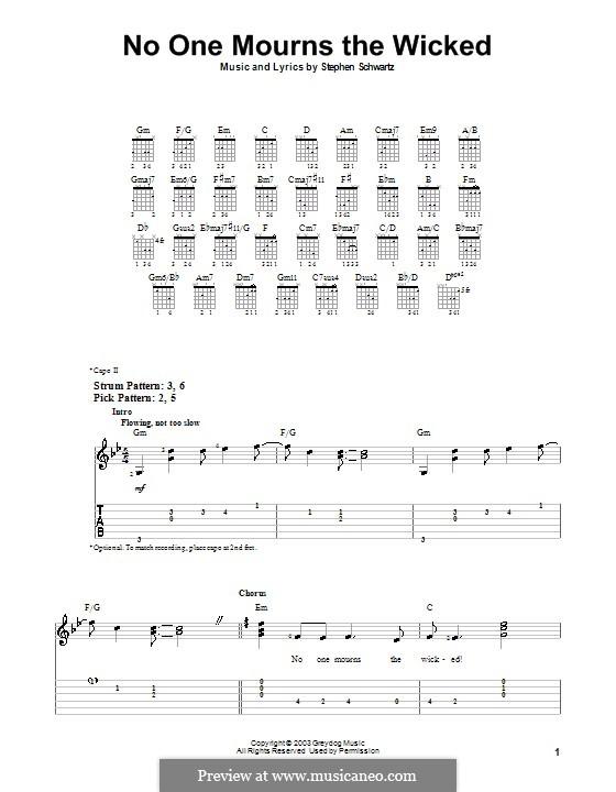 No One Mourns the Wicked: Für Gitarre (Sehr leichte Fassung) by Stephen Schwartz
