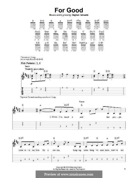 For Good: Für Gitarre (Sehr leichte Fassung) by Stephen Schwartz