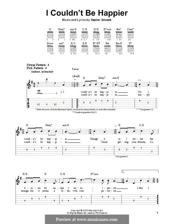 I Couldn't Be Happier: Für Gitarre (Sehr leichte Fassung) by Stephen Schwartz