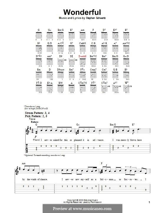 Wonderful (from Wicked): Für Gitarre (Sehr leichte Fassung) by Stephen Schwartz