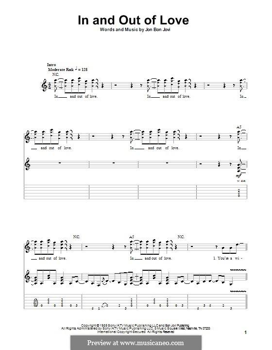In and out of Love (Bon Jovi): Für Gitarre mit Tabulatur by Jon Bon Jovi
