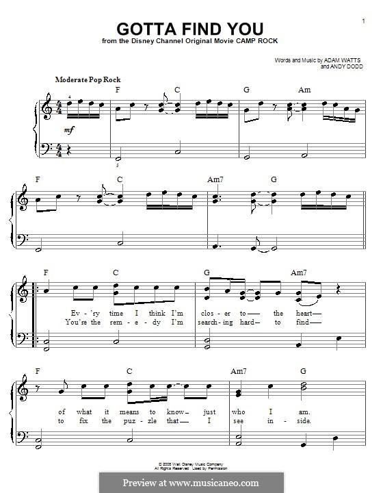 Gotta Find You (Joe Jonas): Für Klavier, leicht by Adam Watts, Andrew Dodd