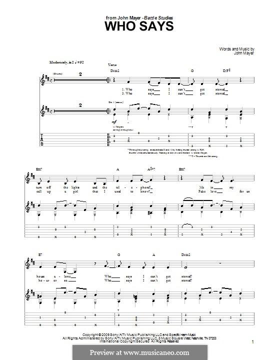 Who Says: Für Gitarre mit Tabulatur by John Mayer