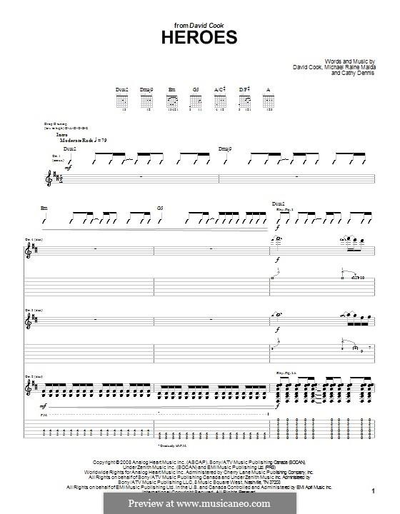 Heroes: Für Gitarre mit Tabulatur by Cathy Dennis, Raine Maida