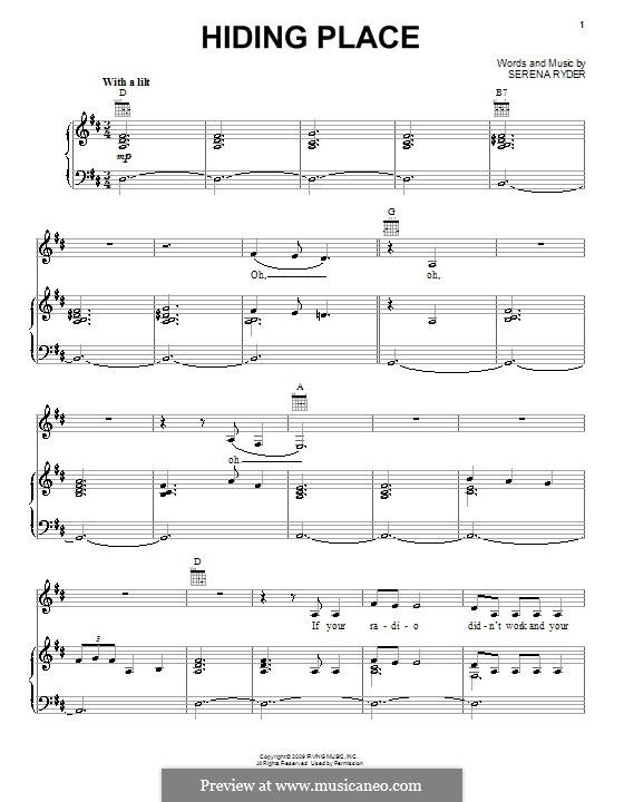 Hiding Place: Für Stimme und Klavier (oder Gitarre) by Serena Ryder