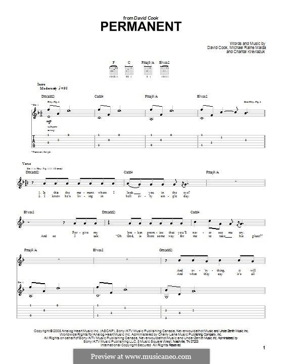 Permanent (David Cook): Für Gitarre mit Tabulatur by Chantal Kreviazuk, Raine Maida