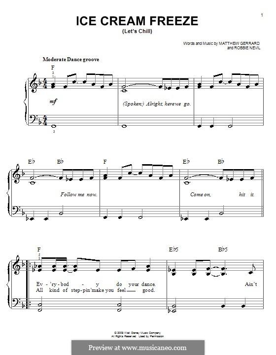 Ice Cream Freeze (Let's Chill): Für Klavier, leicht (Hannah Montana) by Matthew Gerrard, Robbie Nevil