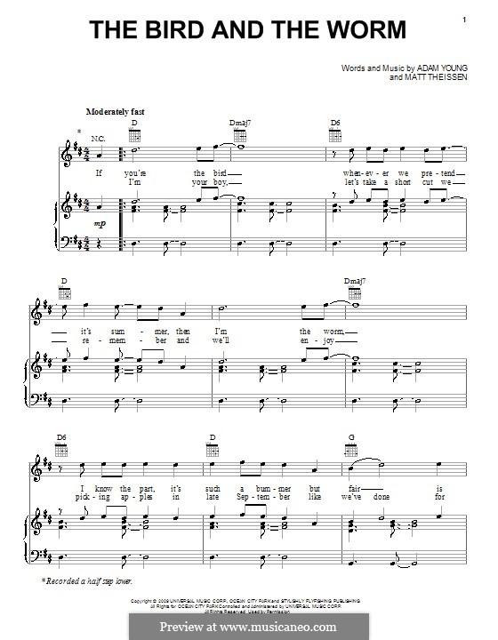 The Bird and the Worm (Owl City): Für Stimme und Klavier (oder Gitarre) by Adam Young, Matt Theissen