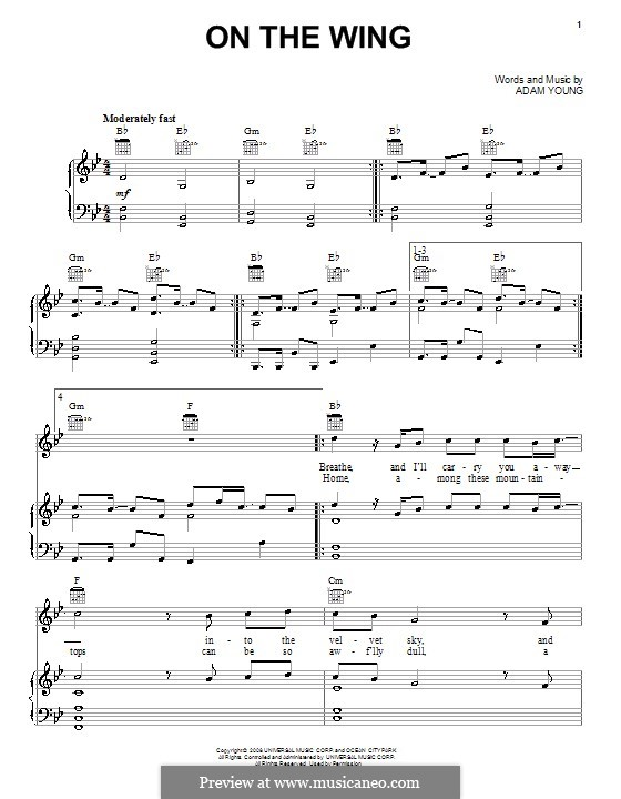 On the Wing (Owl City): Für Stimme und Klavier (oder Gitarre) by Adam Young