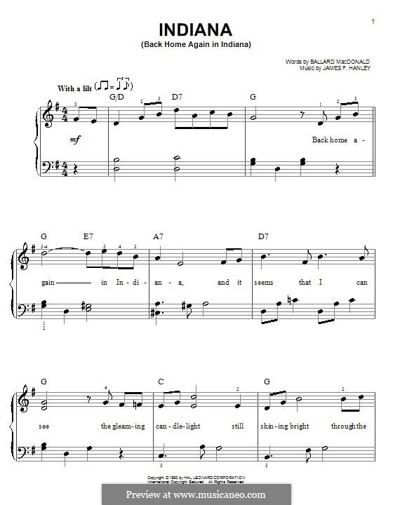 Indiana (Back Home Again in Indiana): Für Klavier, leicht by James Frederick Hanley