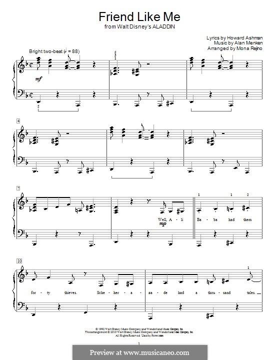 Friend Like Me (from Aladdin): Für Klavier by Alan Menken