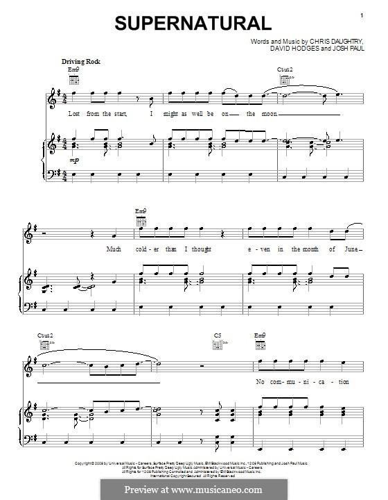 Supernatural (Daughtry): Für Stimme und Klavier (oder Gitarre) by Chris Daughtry, David Hodges, Josh Paul