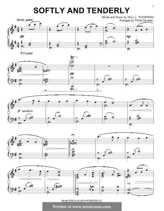 Softly and Tenderly: Für Klavier by Will Lamartine Thompson