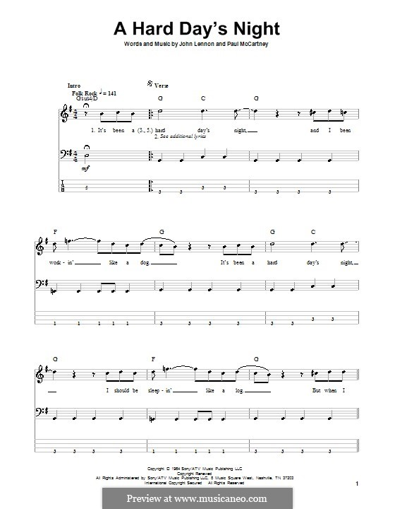 A Hard Day's Night (The Beatles): Für Bassgitarre by John Lennon, Paul McCartney