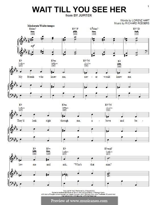 Wait Till You See Her: Für Stimme und Klavier oder Gitarre (Noten von hohem Qualität) by Richard Rodgers