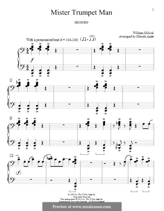Mister Trumpet Man: Für Klavier, vierhändig by William Gillock