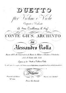 Duo für Violine und Bratsche, BI 35 Op.9: Duo für Violine und Bratsche by Alessandro Rolla