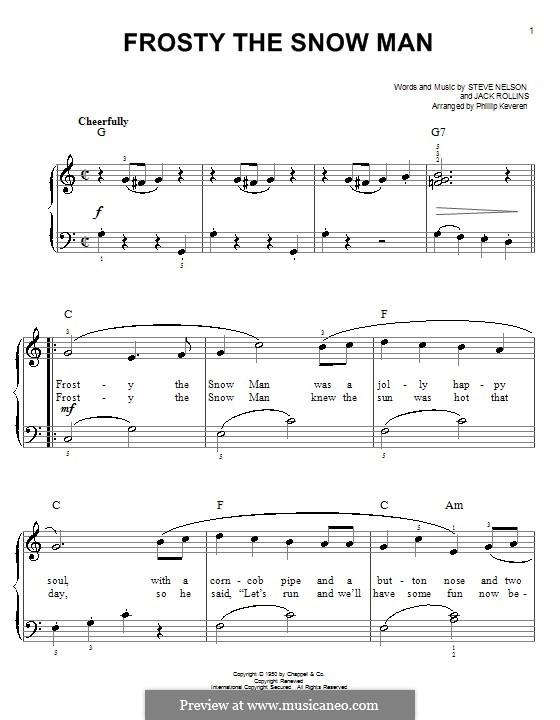 Frosty the Snow Man: Für Klavier (Gene Autry) by Jack Rollins, Steve Nelson