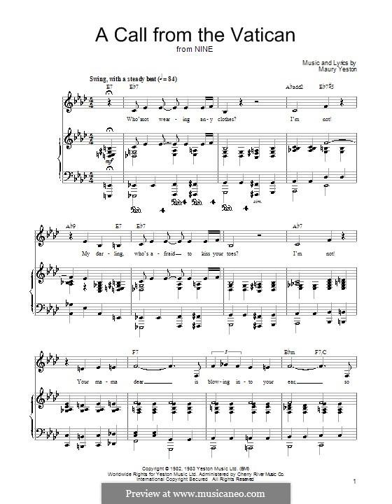 A Call from the Vatican: Für Stimme und Klavier (oder Gitarre) by Maury Yeston