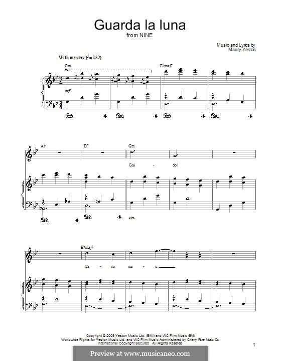 Guarda la Luna: Für Stimme und Klavier (oder Gitarre) by Maury Yeston
