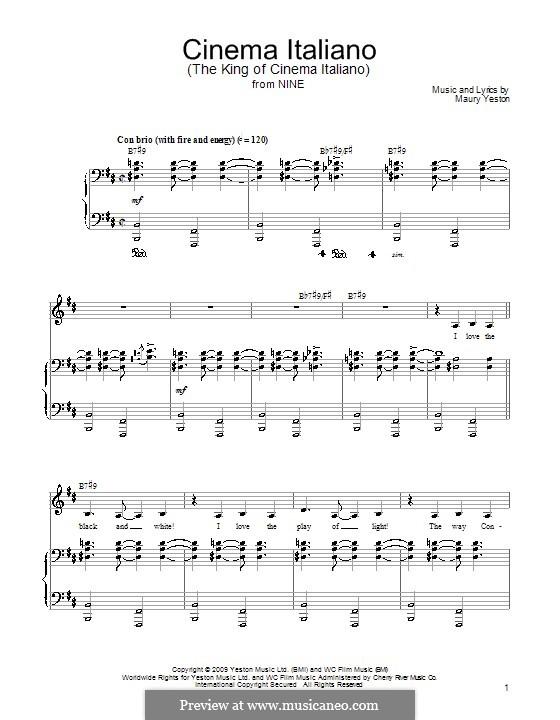 Cinema Italiano: Für Stimme und Klavier (oder Gitarre) by Maury Yeston