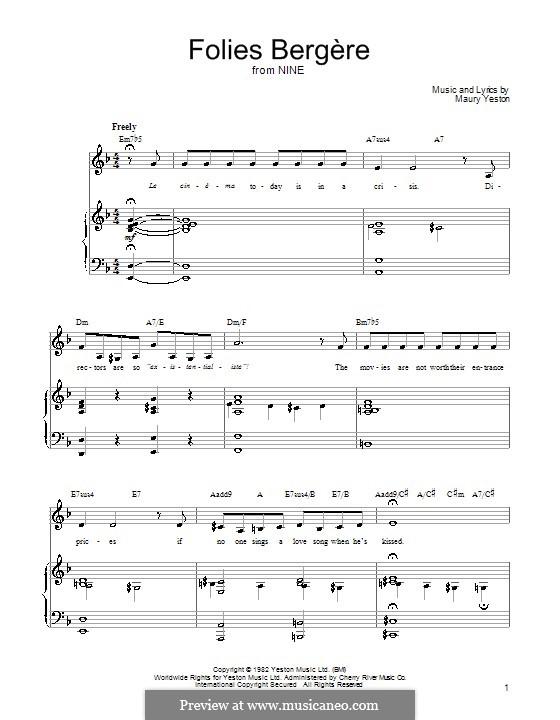 Folies Bergere: Für Stimme und Klavier (oder Gitarre) by Maury Yeston