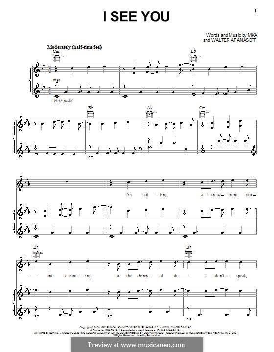 I See You (Mika): Für Stimme und Klavier (oder Gitarre) by Walter Afanasieff