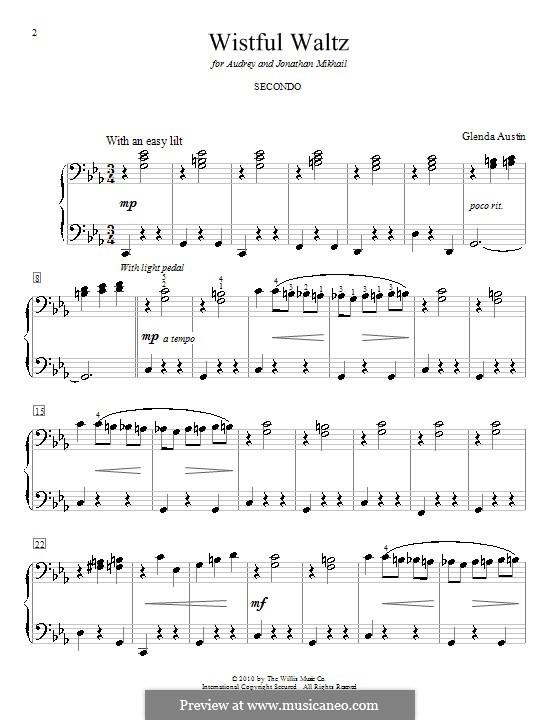Wistful Waltz: Für Klavier, vierhändig by Glenda Austin