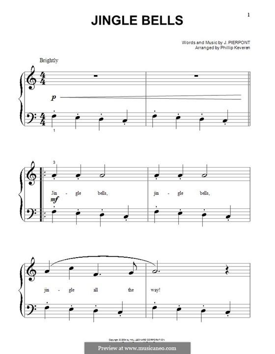 Jingle Bells, für Klavier: Sehr leichte Fassung by James Lord Pierpont