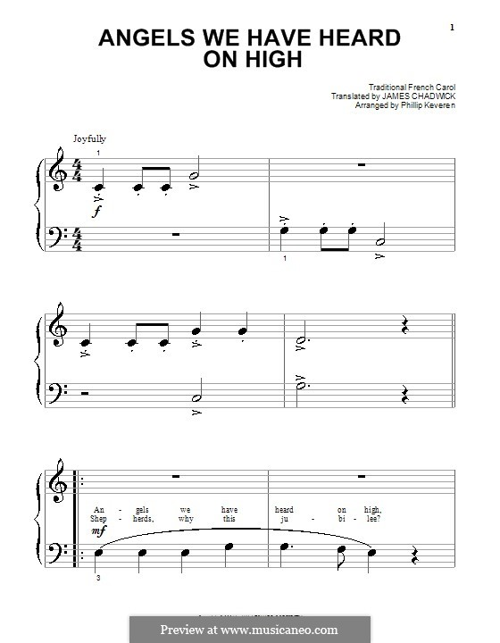 Angels We Have Heard on High, for Piano: Sehr leichte Fassung by folklore