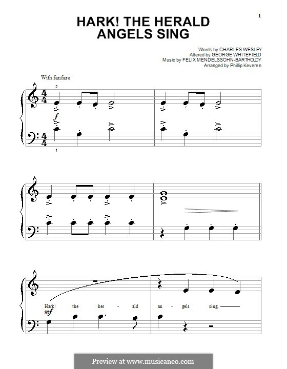 Hark! The Herald Angels Sing, for Piano: Sehr leichte Fassung by Felix Mendelssohn-Bartholdy